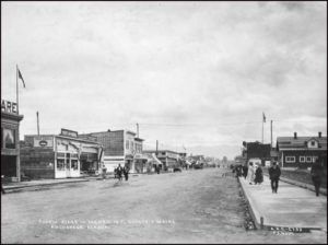 During the summer of 1917, 18 blocks of 12-foot concrete sidewalks and two blocks of 6-foot sidewalks were constructed in downtown Anchorage. The townsite at that time had more than 1,349 buildings, five churches, electric lights and telephone systems.