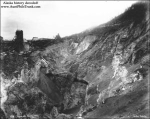 "A bird's eye view shows the great depth of the ""Glory Hole"" at the Treadwell Mine on Douglas Island circa 1900."