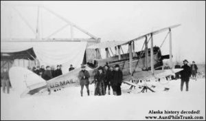 Aviator Carl Ben Eielson, left, completed the first experimental mail flight between Fairbanks and Nenana on Feb. 21, 1924.