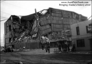 Two people were crushed when two concrete panels fell off the year-old J.C. Penny building in downtown Anchorage during the violent earthquake that hit Southcentral Alaska at 5:36 p.m. on Good Friday, March 27, 1964.
